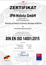 Environmental certificate ISO 14001 (2008)